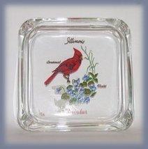 Souvenir Ashtray Cardinal Bird & Violet Flower Decatur, Illinois IL - $3.99