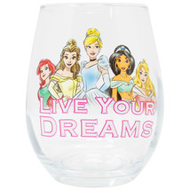Disney Princess Live Your Dreams Stemless 20 Ounce Wine Glass Clear - $19.98