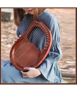 Solid Piece Mahogany Wood Blue or Natural 16 String Hand Made Travel Lyr... - $185.95
