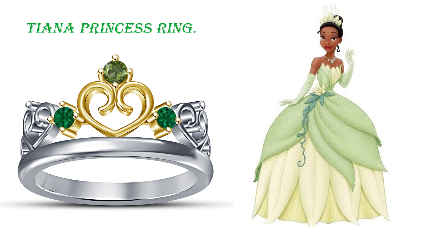Primary image for 925 Silver 14k Withe Gold Plated Round Cut Multi CZ Women's Disney Princess Ring