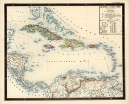 "1851 LARGE 23""x28"" Map Westindien and Central America Caribbean Wall Art... - $26.24"