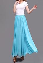 AQUA BLUE Long Chiffon Skirt High Waisted Full Circle Wedding Bridesmaid Skirt image 3