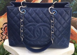 AUTHENTIC CHANEL QUILTED CAVIAR GST GRAND SHOPPING TOTE BAG BLUE SHW
