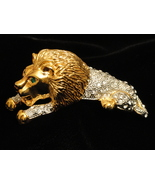 Large Gold Tone Figural Lion Shoulder Brooch With Rhinestones - $79.99