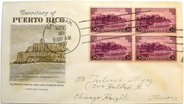 November 25, 1937, First Day of Issue Cover, Puerto Rico Territory #5 - $4.98