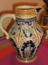 Marzi & Remy Ceramic Pitcher 564 Soldiers Guards w/ German Text Lustrous... - $44.55