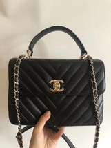 AUTHENTIC CHANEL BLACK CHEVRON LAMBSKIN TRENDY CC 2 WAY HANDLE FLAP BAG GHW