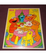 Puzzle Zoes Tea Party Wooden Tray 1994  Age 2+ Sesame Street 315-01 7 pc... - $8.67