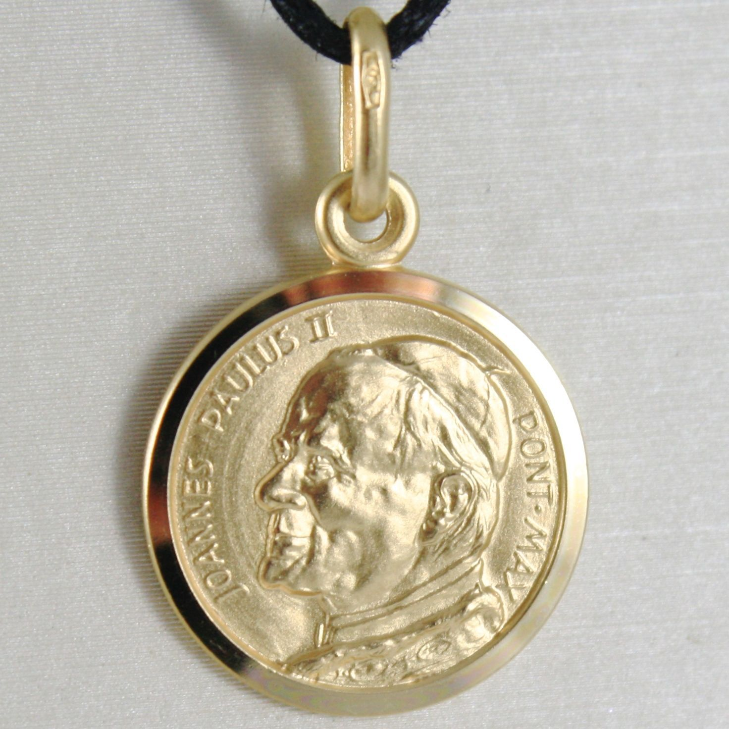 SOLID 18K YELLOW GOLD SAINT POPE JOHN PAUL II, DIAMET. 15 MM MEDAL MADE IN ITALY