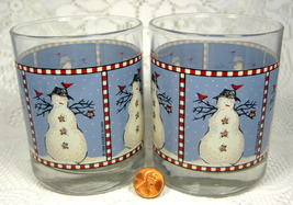 Snowman Glasses Two Debbie Mumm Anchor Hocking Double Old Fashioned - $18.00
