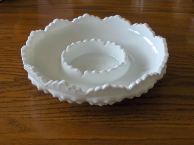 Fenton Milk Glass Hobnail White Ashtray or Relish Dish Serving Bowl