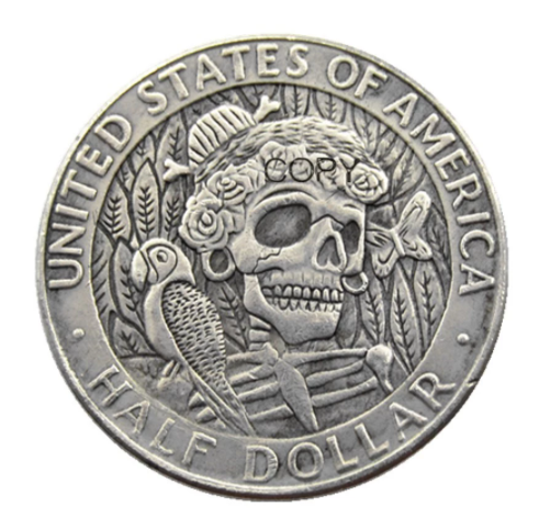 Primary image for FK(08) Hobo 1964 Kennedy Silver Half Dollar skull zombie skeleton Copy Coins