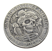 FK(08) Hobo 1964 Kennedy Silver Half Dollar skull zombie skeleton Copy C... - $7.99