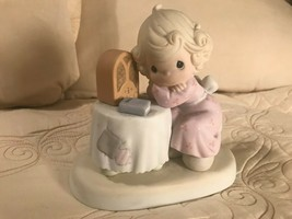 Precious Moments Little Girl sitting at table with bible Lord Speak to Me - $4.94