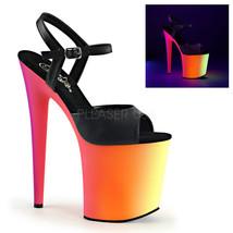"""PLEASER Sexy Blacklight Neon Rainbow Platform 8"""" High Heel Stripper Danc... - $59.95"""