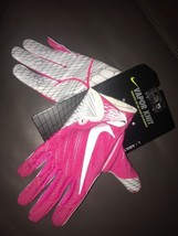 Men's Nike Vapor Knit Football Gloves Breast Cancer Pink White SZ L GF06... - $44.54