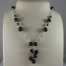 .925 SILVER RHODIUM NECKLACE WITH FRESHWATER GRAY PEARLS AND RHOMBUS MESH image 1