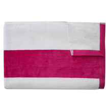 Tropical Cabana Stripe Beach Pool Cotton Velour Towel 34 x 68 Fuchsia 1 ... - $107.10