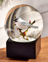 Bird Design Musical Water Globe - Bird on Branch with Red Berry Design Scene - $52.46
