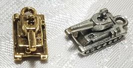 MILITARY TANK FINE PEWTER PENDANT CHARM - 8x15x7mm image 1
