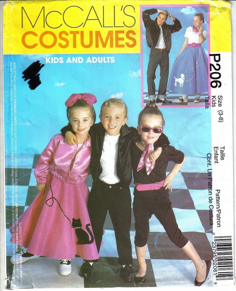 McCall's P206 Kids' 50's Costumes Sizes 3 to 8 Jacket Poodle Skirt More Uncut - $6.99