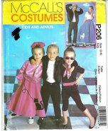 McCall's P206 Kids' 50's Costumes Sizes 3 to 8 Jacket Poodle Skirt More ... - $6.99