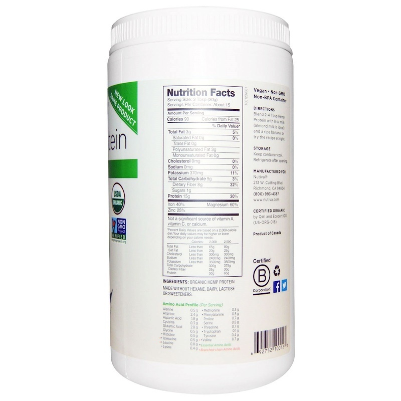 Nutiva, Organic Superfood, Hemp Protein, 15 G, 16 oz (454 g)