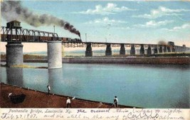 Railroad Train Panhandle Bridge Louisville Kentucky 1907 postcard - $6.44