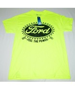 """Ford """"Feel the Power"""" Neon Yellow Black Letter T-Shirt Mens M Official B... - $27.60"""