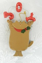 "Wood Cat Christmas Ornament ""Joy"" 6"" Brown Red Green - $12.86"