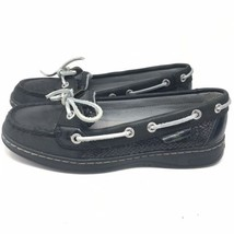 Sperry Top Sider Womens Boat Loafers Moc Toe Sparkle Black Leather Shoes... - $31.99