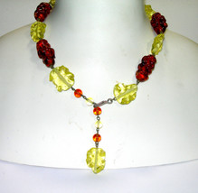VINTAGE BEAUTIFUL ANTIQUE YELLOW & BROWN LAVA ART GLASS BUMPY BEAD NECKLACE - $85.00