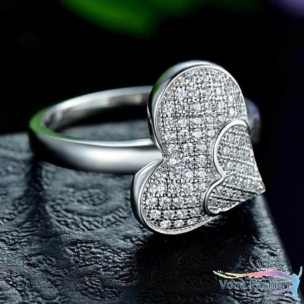 Heart Shape Engagement Ring Round Cut Diamond 14k White Gold Plated 925 Silver