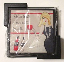 NEW 4 Sexy Fun Bar Girl Glass Coasters Black Wooden Tray One Of A Kind G... - $14.75
