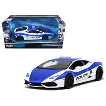 Lamborghini Huracan LP610-4 Police White and Blue 1/24 Diecast Model Car... - $51.70
