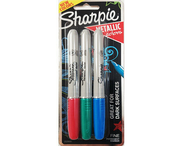 Sharpie Metallic Opaque Colors, Red, Blue and Green #2062650