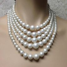 Vintage, 5 Layers, Graduated Faux Pearls, 17in Choker- Necklace - $12.30