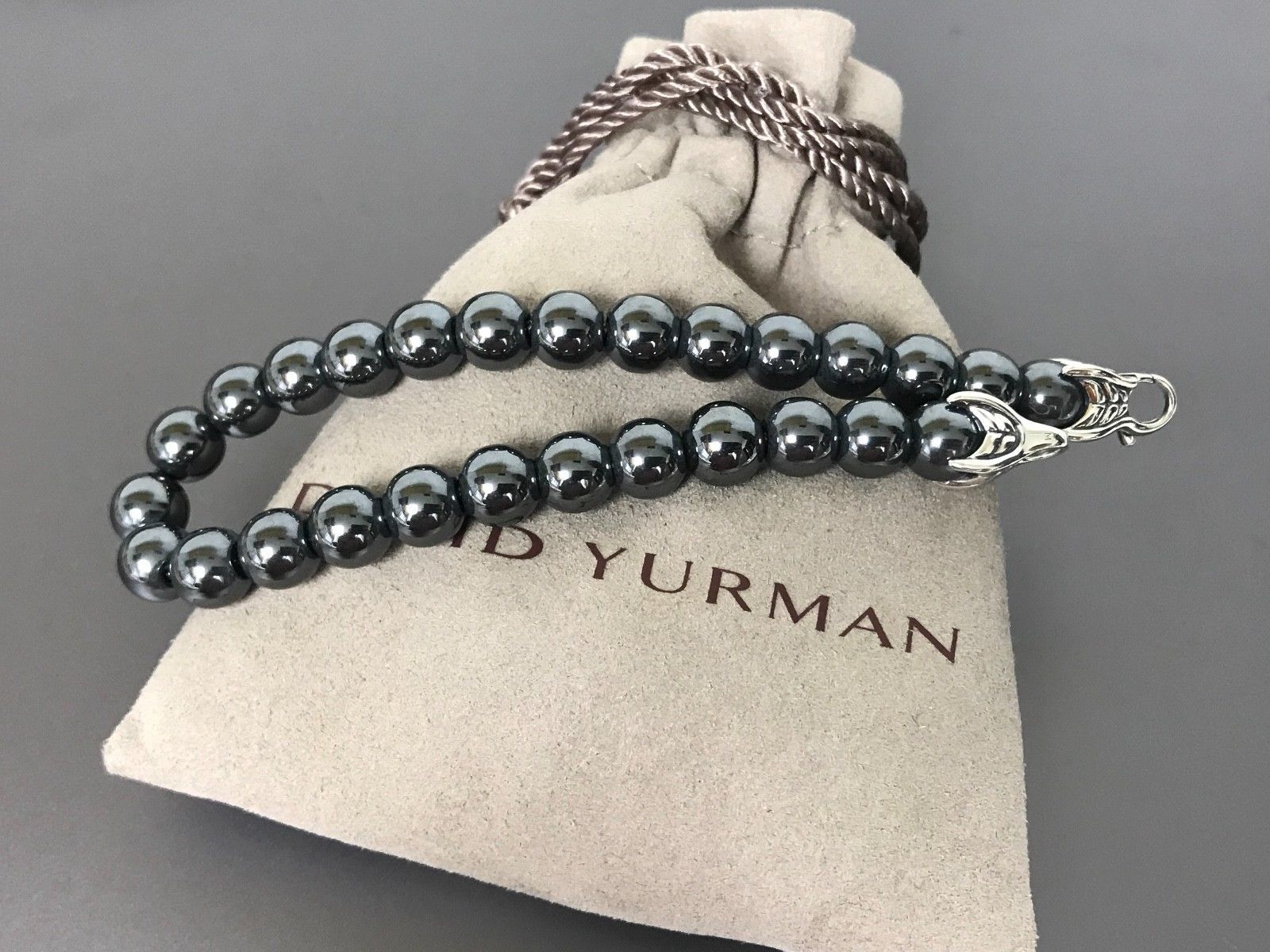 "David Yurman 8.5"" 8mm Beads Sterling Silver 925 HEMATITE Onyx Bracelet"