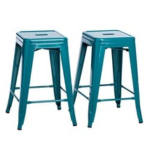 Set of 2 Turquoise French Bistro Tolix Style Metal Counter Stools in Glo... - $93.01