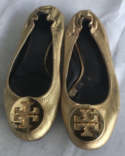 8b8816da9 Worn TORY BURCH Reva Gold Leather Ballet and 50 similar items. 12