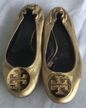 Worn TORY BURCH Reva  Gold  Leather Ballet Flats Shoes  Sz 7M - $39.59
