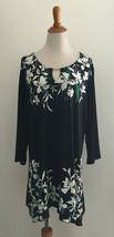 JM Collection Liquid Knit Embellished Floral Print Tunic Blouse Plus Siz... - $29.69
