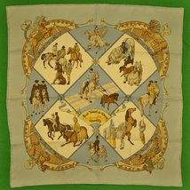'Hermes 'Musee Vivant du Cheval Chantilly' Silk Pocket Square' - $180.00