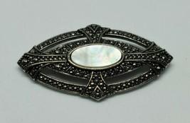 Avon Victorian Elegance Mother Of Pearl Art Deco Silver Tone Brooch 1987 - $9.00