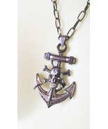 unisex SKULL ANCHOR NECKLACE black chain goth day of dead metal pirate j... - $6.99