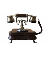 Phone Fixed Design Vintage Of Wood Antique Retro With Cable & Disc Marking - $360.65
