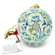 Asha Handicrafts Painted Papier-Mâché Blue & Gold Floral Christmas Ornament