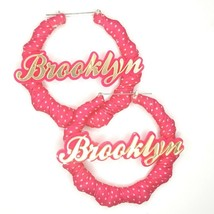 OOAK Pink White Polka Dot Fabric Wrapped Brooklyn Bamboo Handmade Hoop E... - $34.00