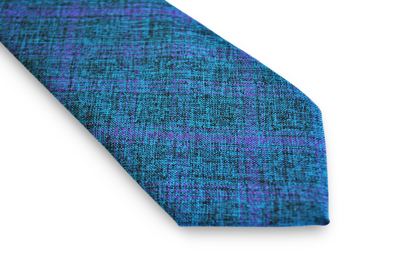Frederick Thomas mens cotton/linen tie in blue & purple check pattern FT3106