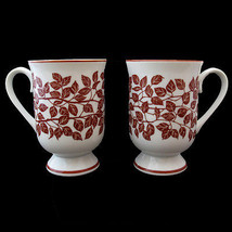 Holt Howard Coffee Mugs Brown Leaves and Trim Two  - $19.99